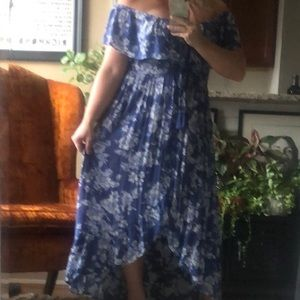 Blue & White Off The Shoulder High Low Dress